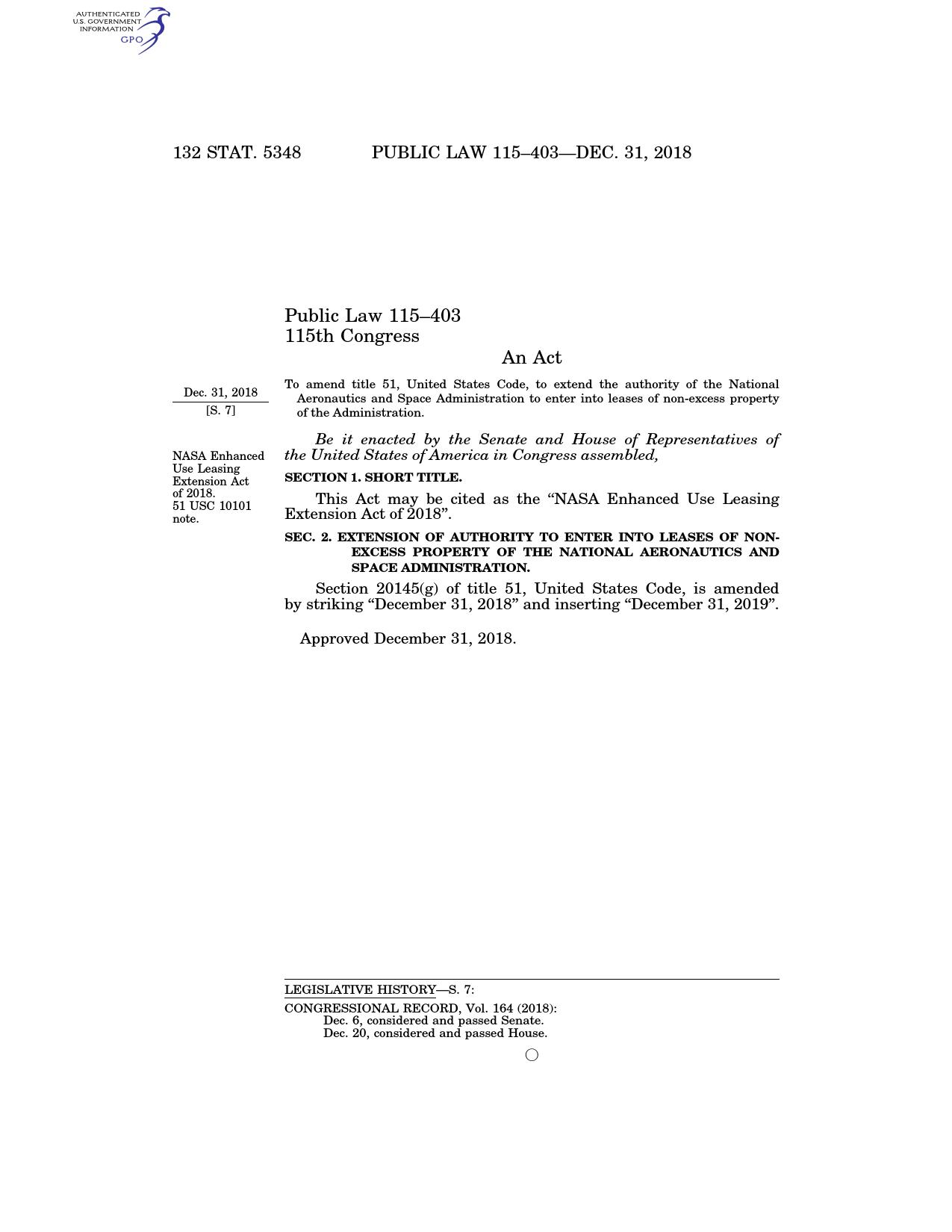 Pub  L  115–403, §1, Dec  31, 2018, 132 Stat  5348