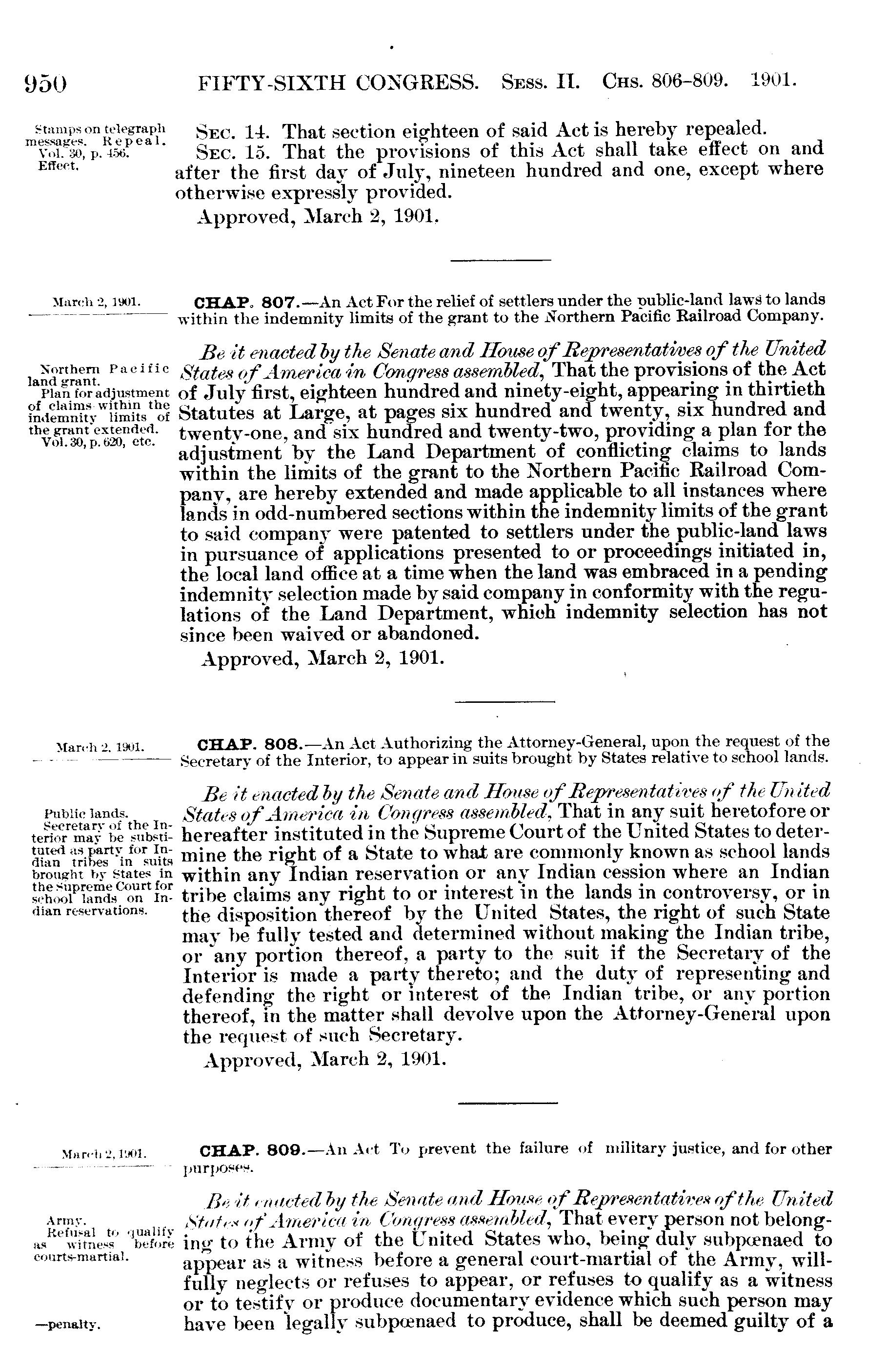 Mar  2, 1901, ch  808, 31 Stat  950