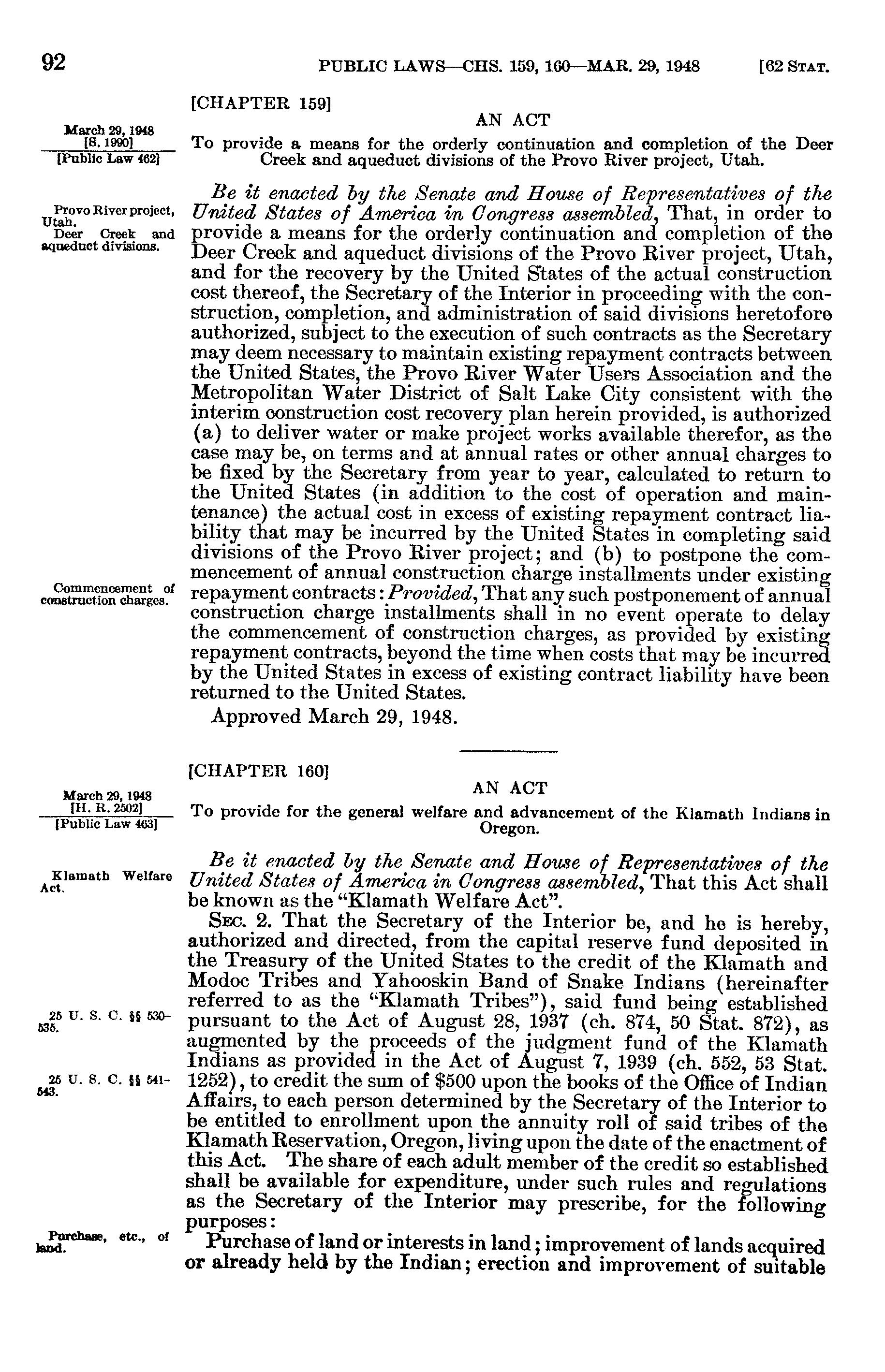 Mar  29, 1948, ch  160, §2, 62 Stat  92